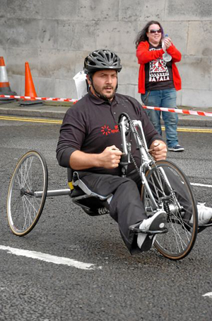 Wheelchair user at Liverpool Marathon