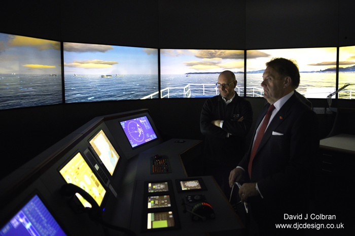 UK shipping minister photograph at Liverpool simulator
