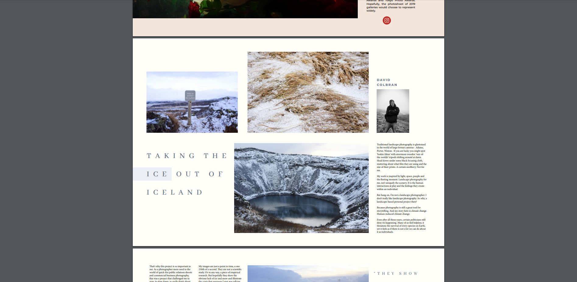 Academy photography magazine tear sheet