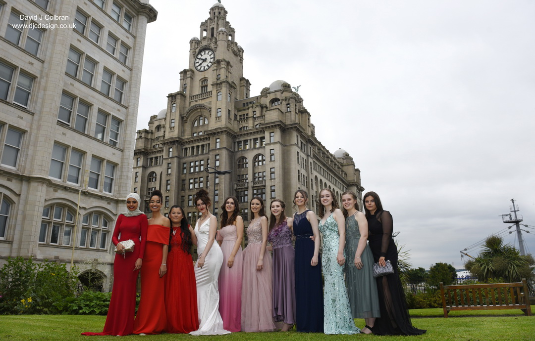 Group photography in Liverpool for an end of year school prom
