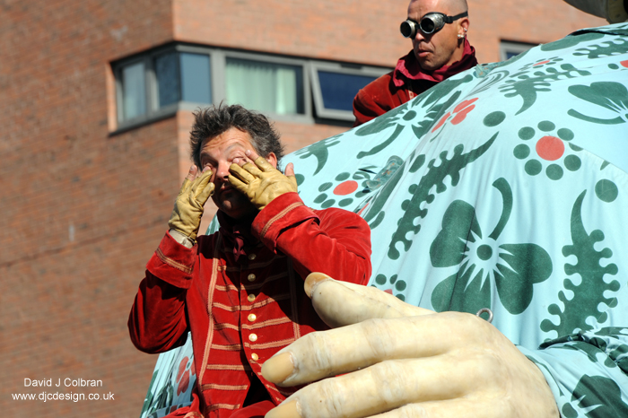 Puppeteers tired on the final day of the Giants Spectacular Liverpool