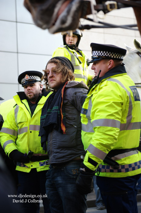 Arrest at student demonstration UK Manchester