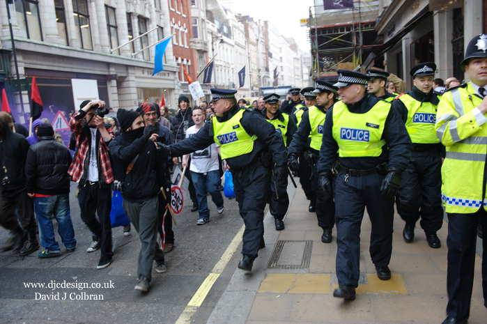 Black bloc at demonstration in London