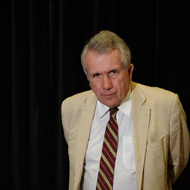 Respected journalist Martin Bell visits Liverpool - portrait photograph for licence