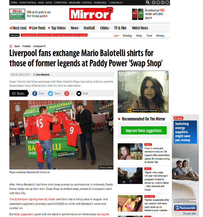 Mirror national coverage